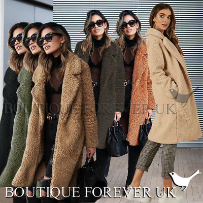 UK Womens Teddy Bear Long Knee Coat Ladies Vintage Faux Fur Jacket Size 6 - 18