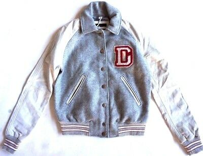 NWT Diesel gray white red monogram D patch letterman crew jacket womens size S