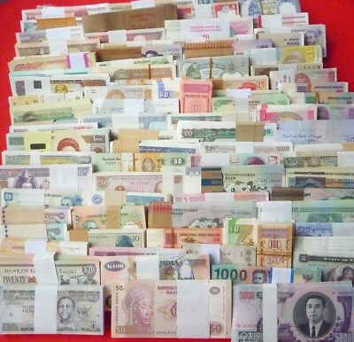 100 Different world paper money collection, UNC genuine, new banknotes.