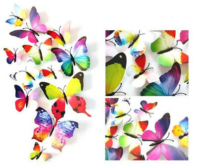 Rainbow Butterfly 3D Hot Sale Wall Decals12pcs 6big+6small PVC 3D Butterfly Wall
