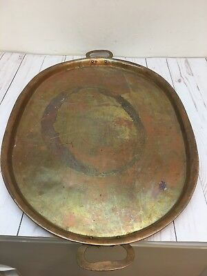 Antique Large 24'' Solid Oval Copper Hand made Tray