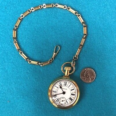 Vintage Westclox Railroad Pocket Watch w/Chain Train Locomotive on Back, Works