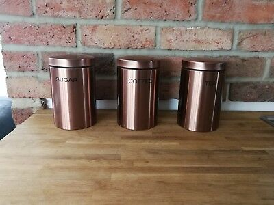 Copper Effect Tea Coffee Sugar Canisters Next 999