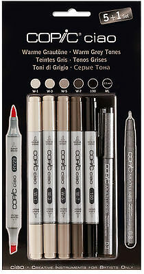 COPIC CIAO Marker 5+1 Set 22075565 WARM GRAUTÖNE Multiliner Markerset Einsteiger