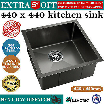 440 x 440mm Single Bowl Stainless Steel Sink Kitchen Laundry Trough Square Edges