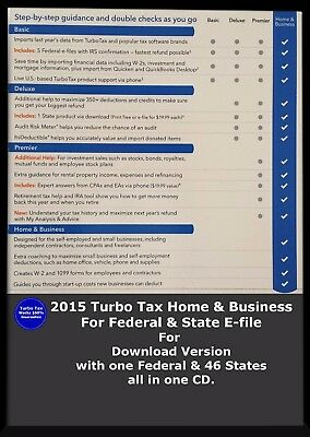 2015 Turbo Tax Home & Business for federal & States E-file with all 46 States