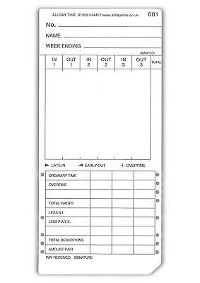 Max Clocking in Cards - 1,000 x Weekly Max Clock Cards (86mm x 186mm). TC-Max.