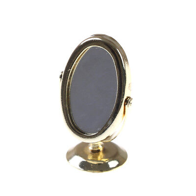 Miniature Oval Swing Dressing Mirror in Brass Stand Dolls House Accessories BH