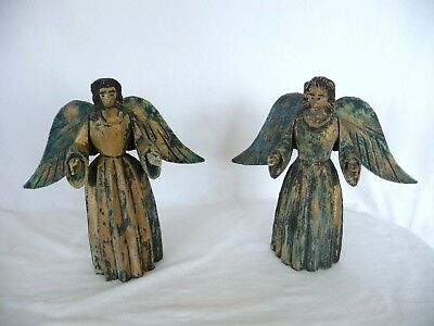 RARE Guatemalan? Antique Hand Carved Wood Pair of Angels