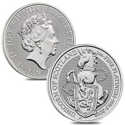Lot of 2 - 2019 Great Britain 1 oz Platinum Queen's Beasts (Unicorn of Scotland)