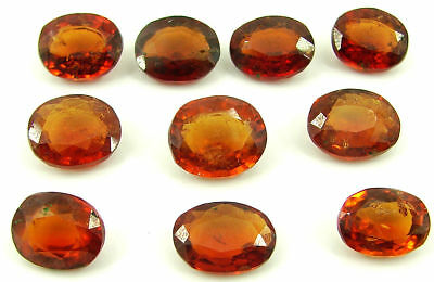 49.30 Ct Natural Hessonite Loose Gemstone Oval Cut Stone Lot of 10 Pcs - 22745