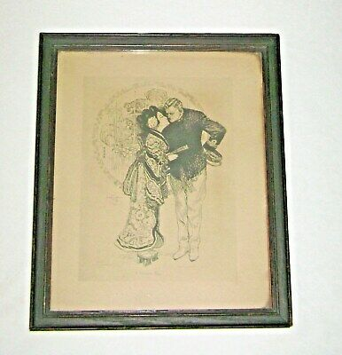 "Antique 1906 ""A Japanese Print"" by Gordon Grant Framed Under Glass"