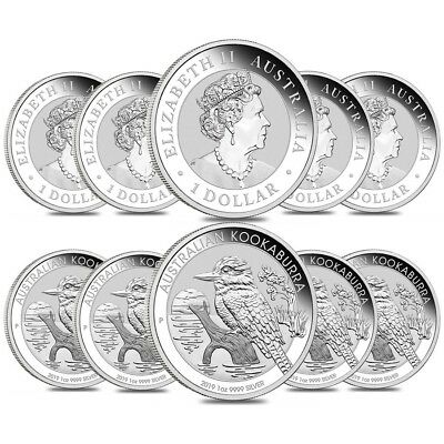 Lot of 10 - 2019 1 oz Silver Australian Kookaburra Perth Mint .999 Fine BU In