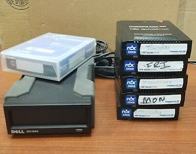 Dell PowerVault RD1000 Ext Backup Drive w/ 5 320GB Drives and New 80GB drive