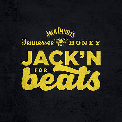 Jack Daniel's Tennessee Honey Jack'n for Beats Black V Neck T-Shirt Large NEW