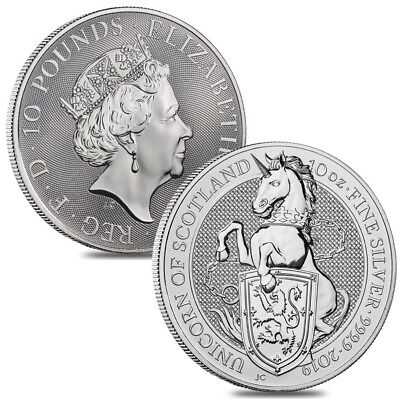 Lot of 2 - 2019 Great Britain 10 oz Silver Queen's Beasts (Unicorn of Scotland)