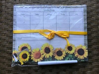 sunflower weekly planner with pen and magnet