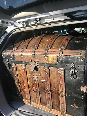 1879 Antique Victorian Wooden Trunk