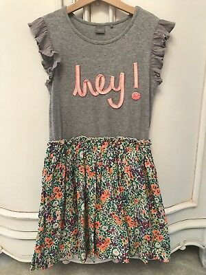 Bnwot Next Girls Grey Floral Tshirt Dress Age 10