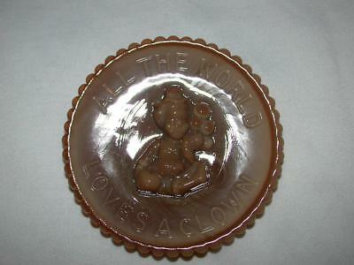 "Mosser Glass Clown Cup Plate 3.5"" Brown Slag ""all The World Loves A Clown"""