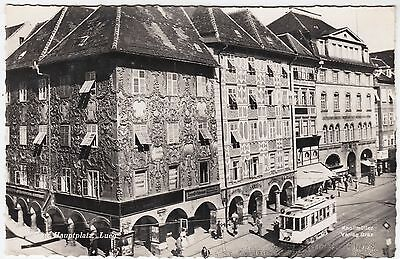 AUSTRIA - Graz - Hauptplatz Lueg - Tram etc - 1950s used real photo postcard