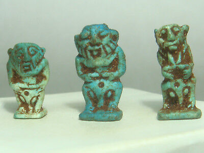 Ancient Egyptian god Bes - Amulets (Faience) - Lot of 3