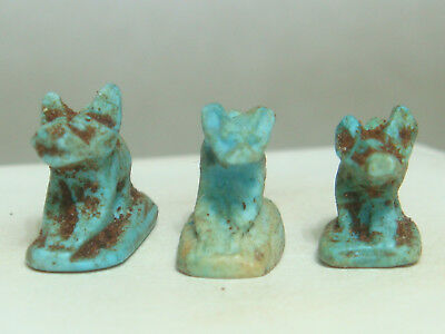 Jackal / Anubis , Ancient Egyptian god - Amulets (Faience) - Lot of 3