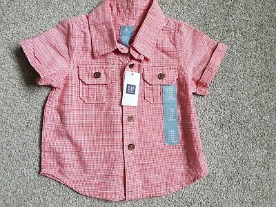 Baby GAP Red Checked Short Sleeved Shirt Size 3-6 Months BNWT Baby Boy