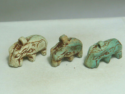Ancient Egyptian goddess Tauret  Hippo - Amulets (Faience) - Lot of 3