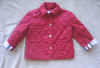 Burberry Girls Red Quited Jacket Size 3 Y