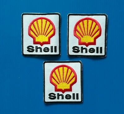 3 LOT SHELL GAS/OIL  Embroidered Easy Iron/Sew On 3. Inch  Patches FREE SHIP