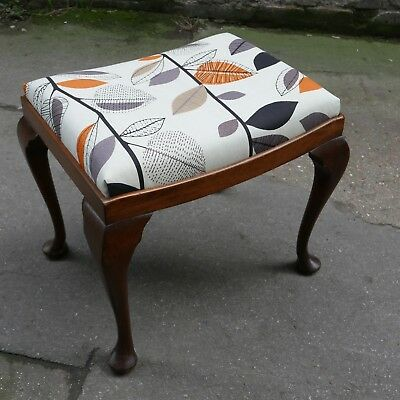 Mahogany autumn leaves stool newly restored and reupholstered