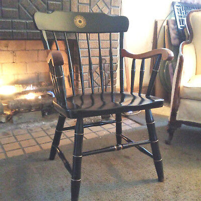Farmhouse S. Bent and Brothers Colby College of Maine Black Windsor Arm Chair