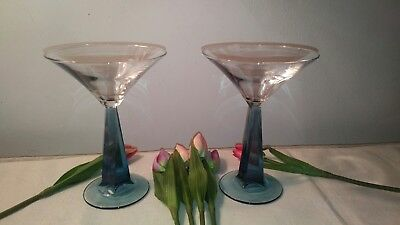 Bombay Sapphire Gin Martini Glasses  - Blue Twisted Stem Set of 2 DISCONTINUED