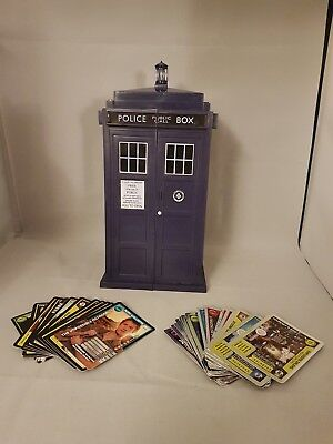 30 Dr Who Monster Invasion Cards And Tardis Storage Box. 17x Rare, 13x Common