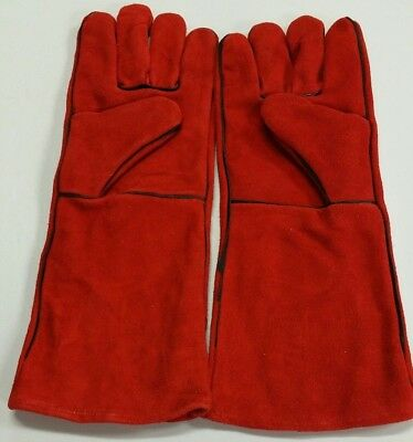 "16"" Red Welding Gloves Split Leather Cowhide Protect Welder Hands"