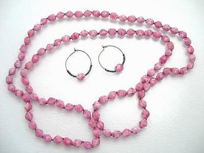 Set 50 Inch Necklace Hoop Earring Swirled Cranberry Glass Peacock Spacers Ub2117