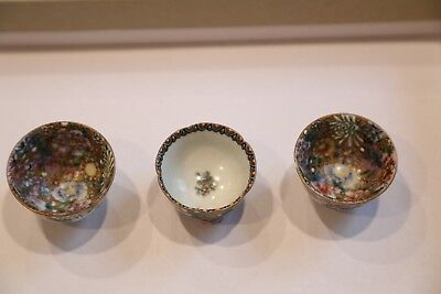 3 Antique Japanese Kutani Signed Sake Cups Hand Painted multi Floral Gold