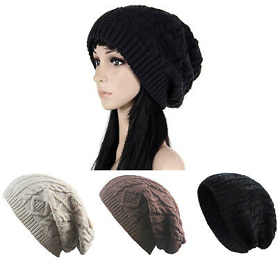 236c2ab98a8ba Unisex Trendy Winter Warm Oversized Chunky Cable Knit Slouchy Beanie Bobble  Hat