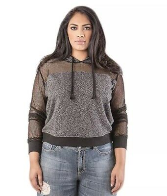 6a26c46a6ea56 Poetic Justice Plus Size Anita French Terry Mesh Sleeve Pull Over Hoodie 1X
