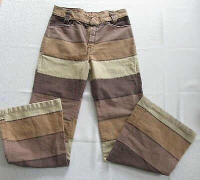 Vintage Girls Bell Bottoms Flare Jeans Size 10 Hippy 70s Brown Tan Carol Evans