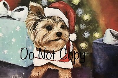 Yorkshire terrier Yorkie PRINT from Painting art Dog Set of 10 CHRISTMAS CARDS