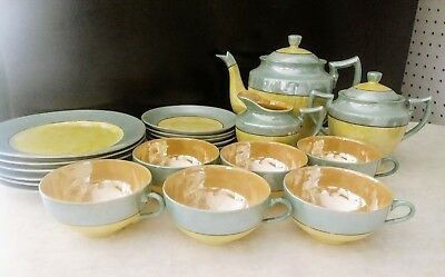 VINTAGE Full 22 Piece Tea Set - 1940'S/50'S BLUE Peach LUSTER WARE - 4MADE JAPAN