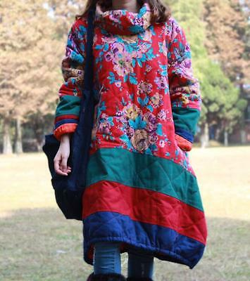 Warm Folk Women Maxi Long Floral Cotton Linen Loose Outwear Coat Jackets Parka
