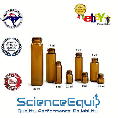Culture Test Tubes FLAT BOTTOM  AMBER Glass 25 x 100MM with Screw Caps, 30 ml