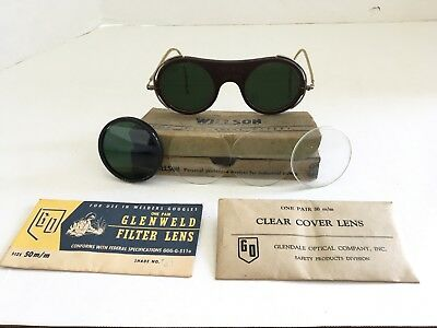 Willson Welding Glasses Goggles Spectacle Type Vintage Steampunk Green Glass