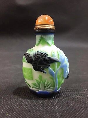 Chinese Antique coloured glaze Hand carved bird snuff bottle  l