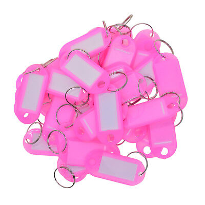 50x KEY TAGS Plastic Rings For ID Tags Card FOB Label Car Pink