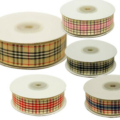 """5/8"""" x 25 Yards Ribbon Wreath Craft Supply Plaid Home Decor - Choose Your Color!"""