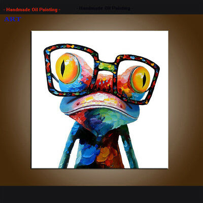 Wall Art Colorful Frog With Glasses Oil Painting on Canvas Abstract Modern Decor